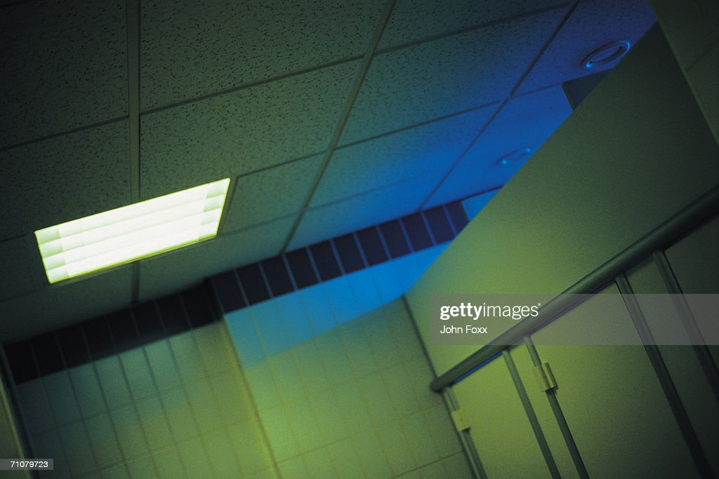 backlight in public restroom : Stock Photo