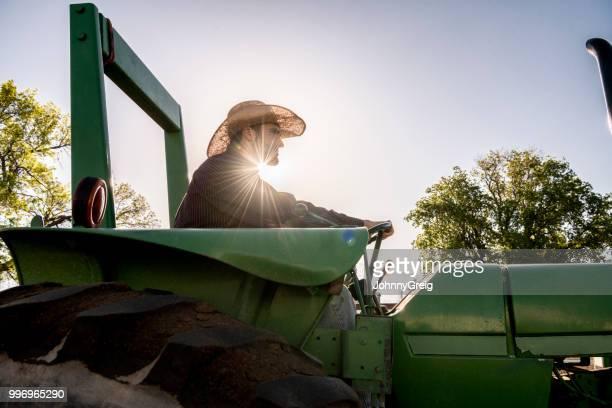 backlit retrato de jovem agricultor americano dirigindo trator - trabalhador rural - fotografias e filmes do acervo