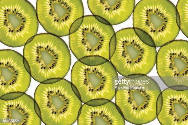 Backlit slices of kiwi fruit taken on May 10 2016