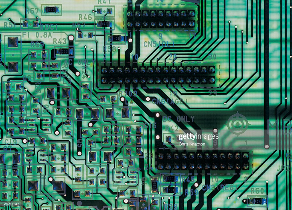 Back-lit translucent green circuit board : Stock Photo