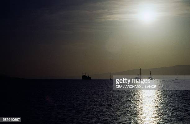 Backlit view of boats, Red Sea, Djibouti.