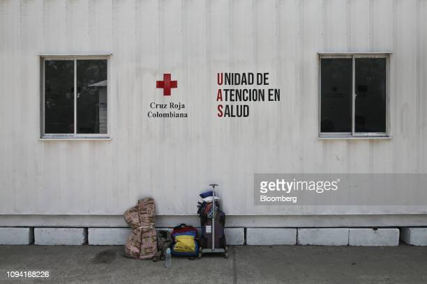 A backpack displaying the colors of the Venezuelan flag sits outside a Colombian Red Cross facility in Cucuta Colombia on Tuesday Feb 5 2019 Eleven...