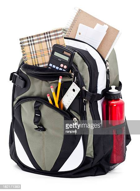 backpack isolated on a white background - school supplies stock pictures, royalty-free photos & images