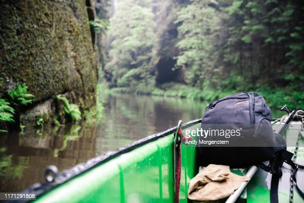 backpack on a boat in a river  at a canyon - エルプサンドシュタイン山地 ストックフォトと画像
