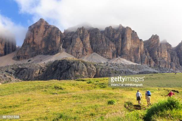 backpack traveler hiking climb to mountain