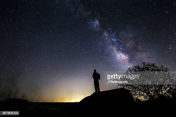 Backpacker Admiring the Night Sky