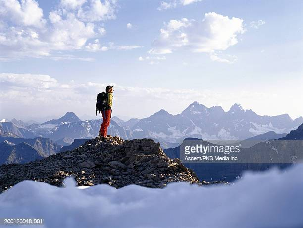 backpacker admiring view from mountain peak - national landmark stock pictures, royalty-free photos & images