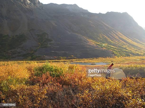 Backpacker camping in Denali National Park and Preserve, Alaska.