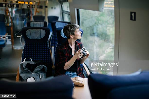 A Backpacker Enjoying The Scenery During A Train Journey