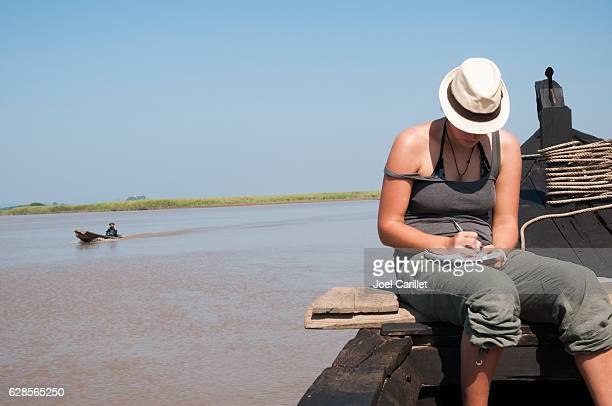 Backpacker from Europe traveling on Burma's Thanlwin River