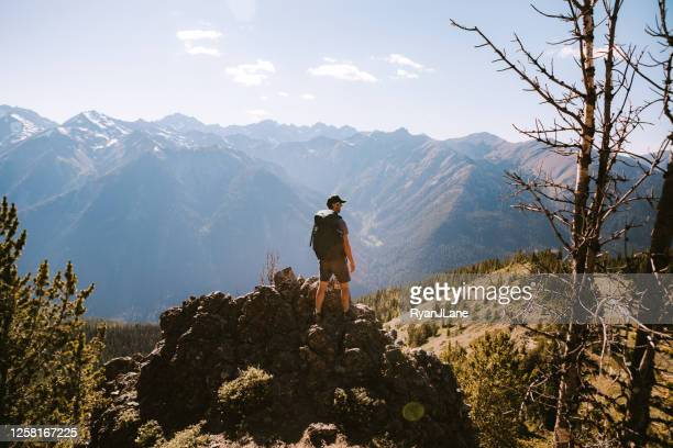 backpacker hiking mountain ridge with view of olympics - olympic park stock pictures, royalty-free photos & images