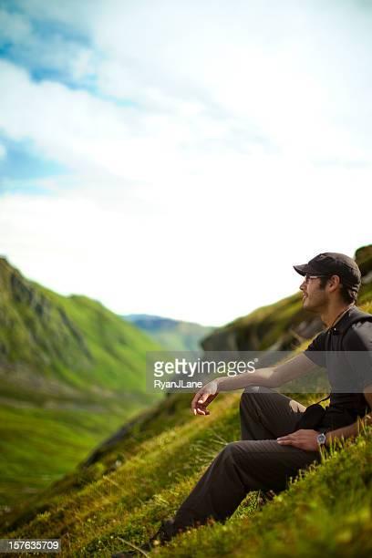 Backpacker In Alaskan Mountain Range