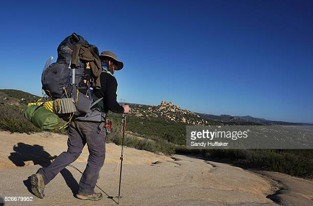 Backpacker Stan Nassano heads out onto the Pacific Crest Trail at the Southern Terminus along the US Mexico Border in Campo CA on Friday April 17...
