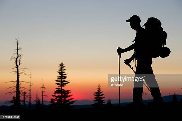 backpacker sunset - pacific crest trail stock pictures, royalty-free photos & images
