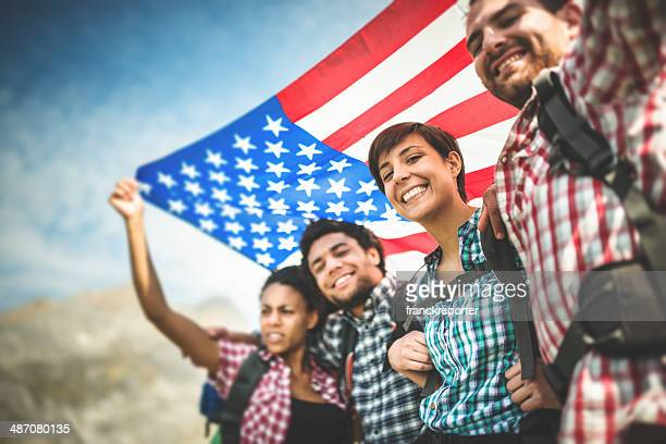 backpacker togetherness with american flag