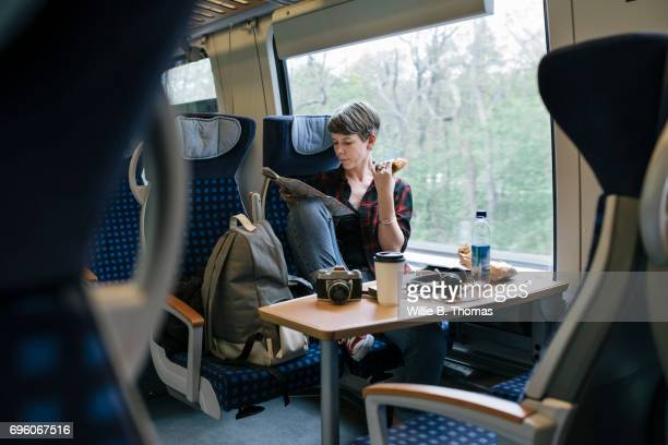 Backpacker Traveling On Train