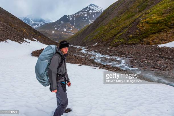 a backpacker trudges through snow while hiking over an unnamed pass in the brooks range at 1:33 a.m. - miley fotografías e imágenes de stock