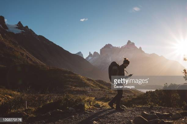 backpacker walking looking at mobile phone in mountains in sunny day - wilderness stock pictures, royalty-free photos & images