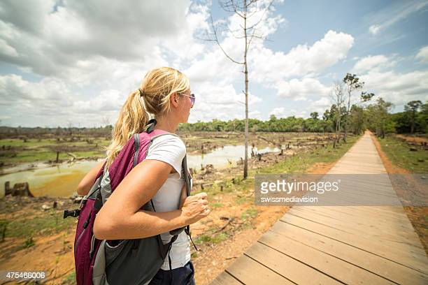 Backpacker woman exploring the world