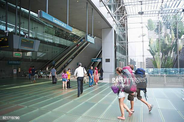 Backpackers arrive at Singapore Changi Airport, Singapore