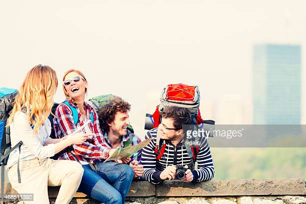 Backpackers having fun on their travel.