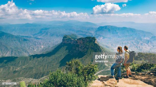 backpackers hiking sierra gorda in mexico - mexico stock photos and pictures