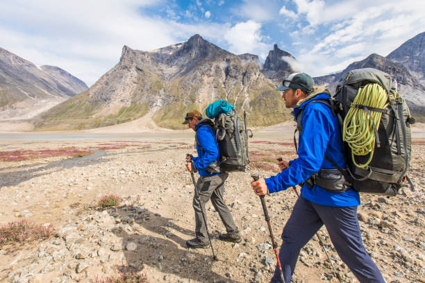 Backpackers on a journey, traversing a mountain pass.
