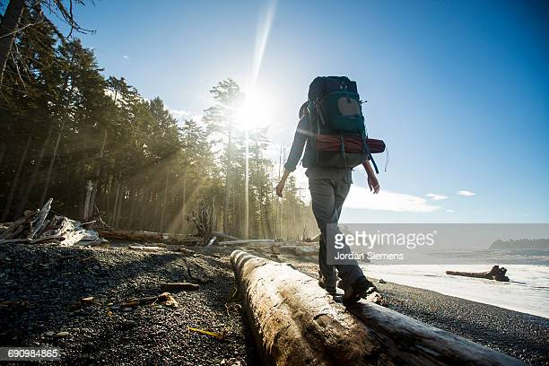 backpacking along a beach - escaping stock pictures, royalty-free photos & images