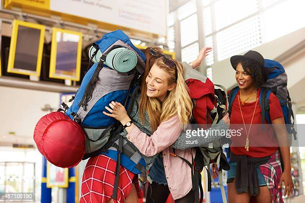 Backpacking friends arrive to start their journey