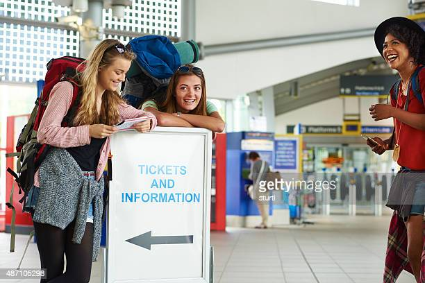 Backpacking friends have fun in the terminal