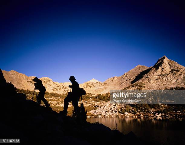 Backpacking Hikers backpack along the John Muir Trail in Kings Canyon National Park in California's Sierra Nevada mountains October 1 2004 ��Tim...