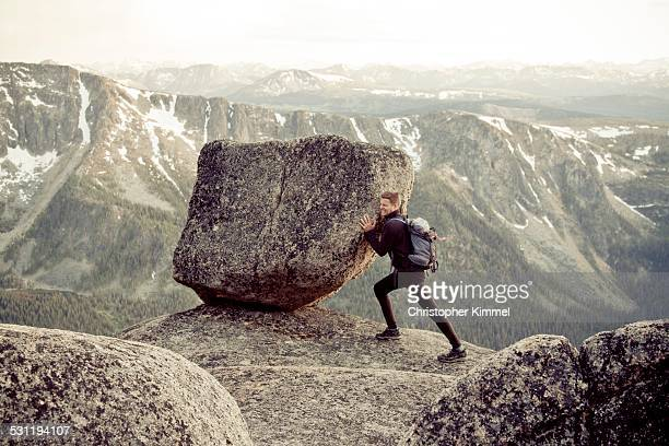 backpacking - boulder rock stock photos and pictures