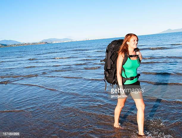 Backpacking Woman On The Move