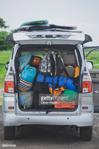 backpacks loaded in car trunk - full stock pictures, royalty-free photos & images