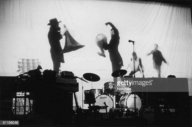 A backprojection is tested during rehearsals for Pink Floyd's first concept show 'Games for May Space Age Relaxation for the Climax of Spring' held...