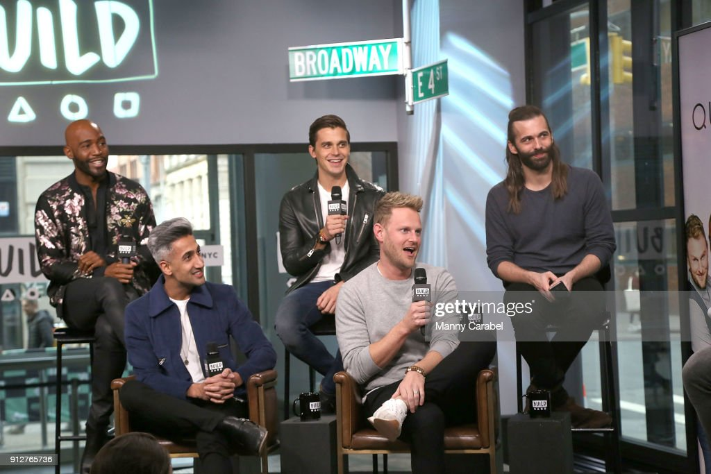Karamo Brown, Antoni Porowski, Jonathan Van Ness, (L-R) front row: Tan France and Bobby Berk visit the Build Series at Build Studio on January 31, 2018 in New York City.