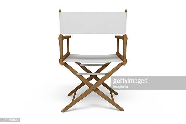 backside of a director's chair - wooden / white (isolated) - chair stock pictures, royalty-free photos & images