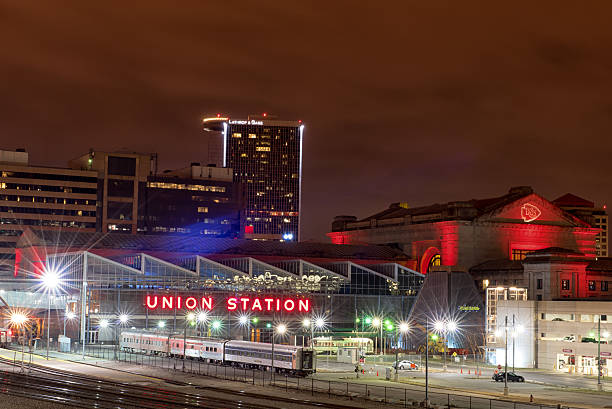 Backside of Union Station, Kansas City - illuminated red in honor of the Kansas City Chiefs