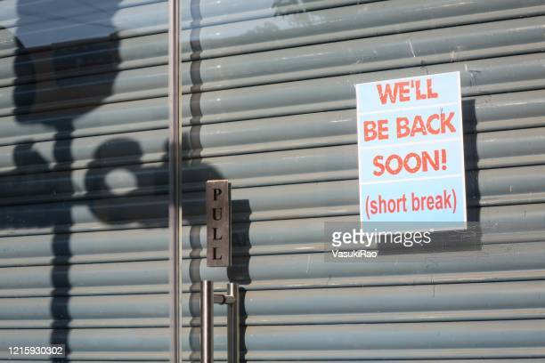 back-soon sign in india virus lockdown - lockdown stock pictures, royalty-free photos & images