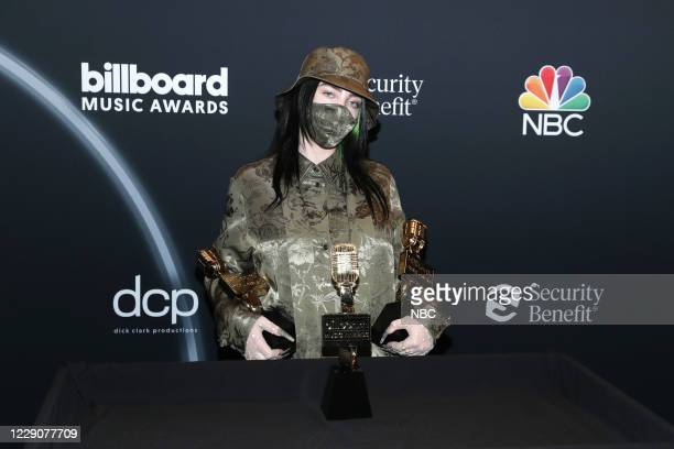 AWARDS Backstage 2020 BBMA at the Dolby Theater Los Angeles California Pictured In this image released on October 14 Billie Eilish poses with awards...