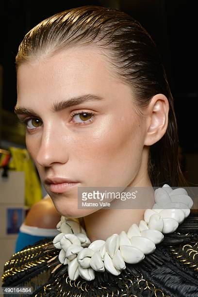 backstage ahead of the DSquared2 show during Milan Fashion Week Spring/Summer 2016 on September 26 2015 in Milan Italy