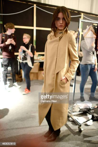 backstage ahead of the Isabell de Hillerin show during MercedesBenz Fashion Week Autumn/Winter 2014/15 at Brandenburg Gate on January 16 2014 in...