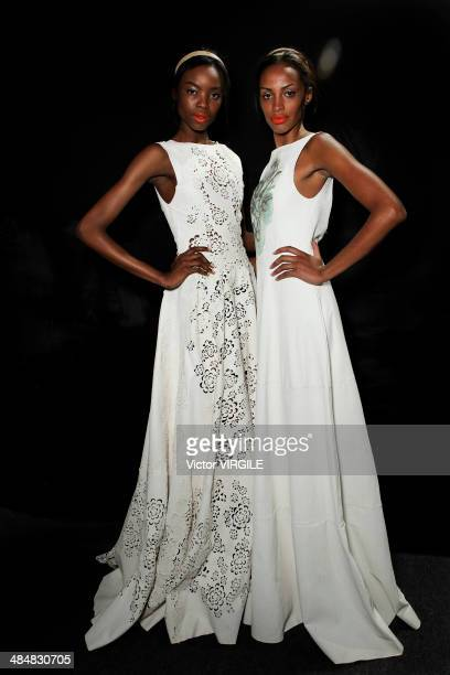 Backstage and atmosphere at the Patricia Motta show during Sao Paulo Fashion Week Summer 2014/2015 at Parque Candido Portinari on April 1 2014 in Sao...