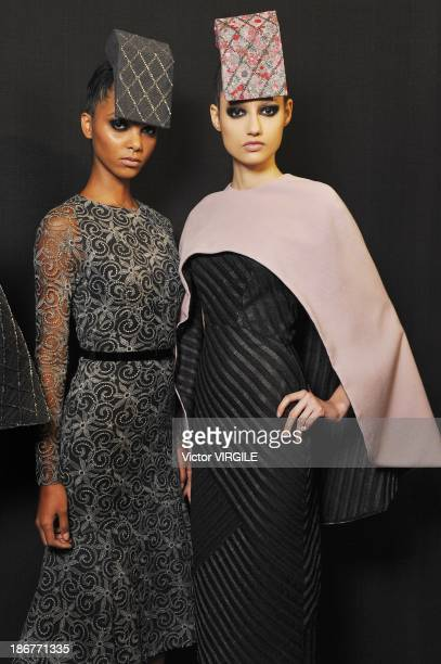 Backstage and atmosphere during Acquastudio show at the Sao Paulo Fashion Week Winter 2014 on October 29 2013 in Sao Paulo Brazil