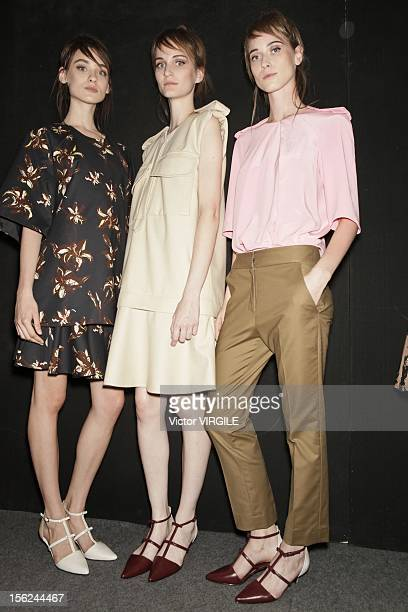 Backstage and atmosphere during the Andrea Marques Fall/Winter 2013 fashion show at Fashion Rio on November 09 2012 in Rio de Janeiro Brazil