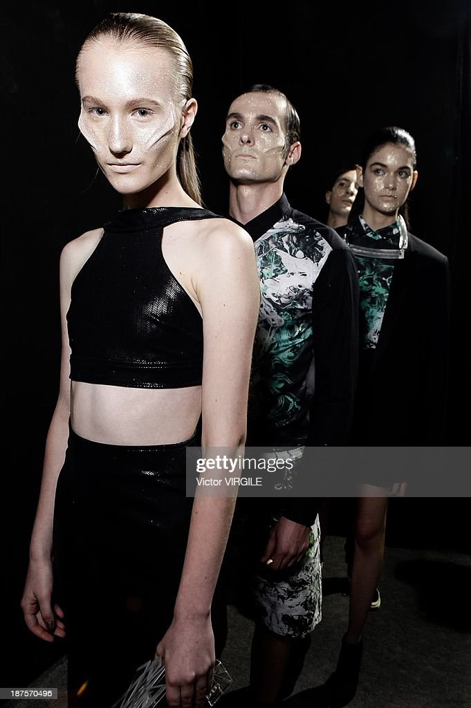 Backstage and atmosphere during the Auslander show as part of the Rio de Janeiro Fashion Week Fall/Winter 2014 on November 9, 2013 in Rio de Janeiro, Brazil.