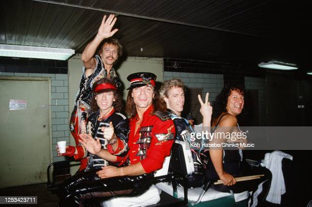 Backstage area at the Moscow Music Peace Festival 1989 at Luzhiniki Stadium Moscow Russia 12th and 13th August 1989 Klaus Meine Rudolf Schenker...