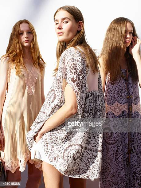 Backstage at Chloe show as part of the Paris Fashion Week Womenswear Spring/Summer2016 on October 1 2015 in Paris France