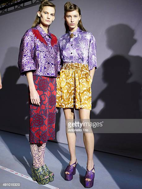 Backstage at Dries Van Noten show as part of the Paris Fashion Week Womenswear Spring/Summer2016 on September 30 2015 in Paris France