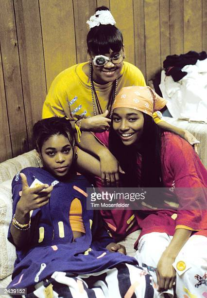 TLC backstage at KMEL 106 Summer Jam 1992 at Shoreline Amphitheater in Mountain View Calif on August 2nd 1992 Lisa Left Eye Lopes Photo by Tim...